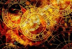 Vieux horloge et collage de zodiaque Fond abstrait de couleur illustration stock
