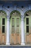 Vieux hublots d'héritage, Penang images stock