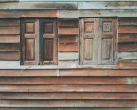 Vieux hublots en bois Photographie stock libre de droits
