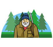 Vieux Hunter And Pine Forest illustration stock