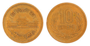 Vieux Japonais pièce de monnaie de 10 Yens de 1953 Photographie stock