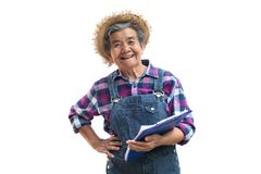 Vieux jardinier asiatique heureux sur un blanc Images stock
