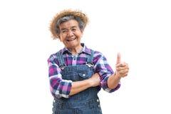 Vieux jardinier asiatique heureux sur un blanc Photo stock