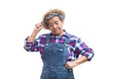 Vieux jardinier asiatique heureux sur un blanc Photo libre de droits