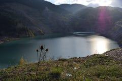 Vieux lac de mine dans le jour d'hiver Images stock