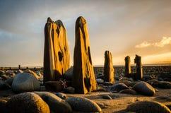 Vieux lever de soleil de brise-lames Images stock