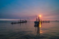 Vieux lever de soleil de dock photos stock