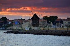 Vieux lever de soleil de ville de Nessebar Photos stock