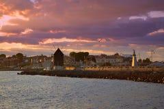 Vieux lever de soleil de ville de Nessebar Image stock