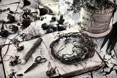 Vieux livre de journal intime avec les graines, le crayon et les racines secs sur la table photo libre de droits