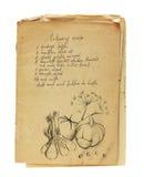Vieux livre de recette d'isolement Photos libres de droits