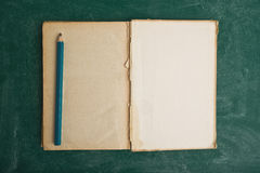 Vieux livre et crayon ouverts Photographie stock libre de droits
