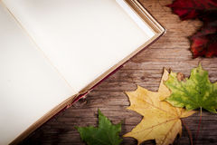 Vieux livre sur la table avec des feuilles d'automne Image stock