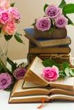 Vieux livres avec la fleur rose Images stock