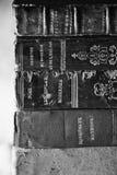 Vieux livres poussiéreux noir et blanc Photos stock