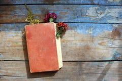 Vieux livres sur le fond en bois Photo stock