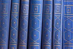 Vieux livres sur une étagère en bois Photographie stock libre de droits