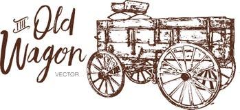 Vieux logo en bois de chariot, dessin de vecteur de chariot image stock