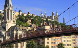 Vieux-Lyon. Church of Saint Georges and footbridge, Lyon, France Royalty Free Stock Image