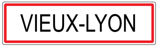 Vieux Lyon city traffic sign illustration in France Stock Photography