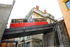 Vieux Lyon Fourviere Funiculaire en el puente fotografía de archivo