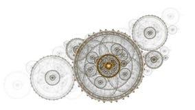 Vieux mécanisme d'horloge, roue dentée métallique illustration libre de droits