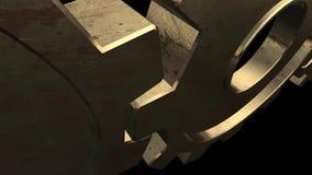 Vieux mécanisme de deux vitesses d'or Fond noir Fin vers le haut Alpha Channel illustration stock