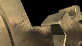 Vieux mécanisme de deux vitesses d'or Fond noir Fin vers le haut Alpha Channel illustration de vecteur