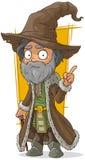Vieux magicien de bande dessinée dans le chapeau brun illustration libre de droits