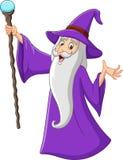 Vieux magicien de bande dessinée tenant le bâton magique illustration de vecteur