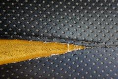 Vieux manque en cuir de tapisserie d'ameublement de cuir de tapisserie d'ameublement Images stock