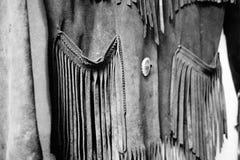 Vieux manteau de cuir de frange Photographie stock libre de droits