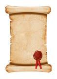 Vieux manuscrit avec de la cire de sceau illustration stock