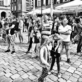 Vieux marché à Poznan Regard artistique en noir et blanc Photographie stock libre de droits