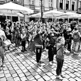 Vieux marché à Poznan Regard artistique en noir et blanc Photos libres de droits