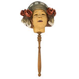 Vieux masque de geisha avec la poignée pour Halloween Images libres de droits