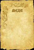 Vieux menu Image stock