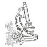 Vieux microscope de vecteur avec des roses Illustratio tiré par la main de vintage Photographie stock