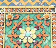 Vieux modèles de carreau de céramique floral et Photo stock