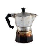 Vieux moka utilisé de café d'isolement sur le fond blanc Images libres de droits