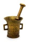 Vieux mortier en bronze photographie stock libre de droits