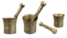 Vieux mortier en bronze avec le pilon image stock