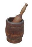 Vieux mortier et pilon en bois d'isolement. photographie stock libre de droits