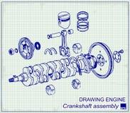 Vieux moteur de dessin, ensemble de vilebrequin Photo libre de droits