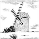 Vieux moulin à vent rural. illustration stock