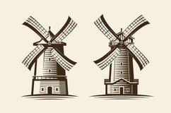 Vieux moulin en bois Moulin à vent, agriculture, cultivant le logo ou l'icône Illustration de vecteur de vintage Image stock