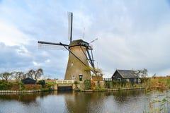 Vieux moulins à vent dans Kinderdijk au lever de soleil, Hollande, Pays-Bas, Eu Image libre de droits