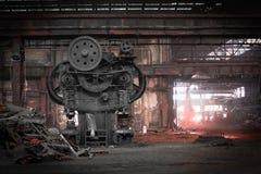 Vieux, métallurgique ferme attendant une démolition Photo stock