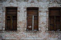 Vieux mur avec des hublots Photographie stock