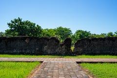 Vieux mur de briques désolé avec l'herbe images stock
